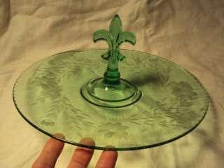ANTIQUE Green Depression Glass Tray FLEUR DE LIS handle