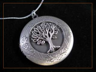 Tree Of Life Vintage Antique Silver Tone Picture Locket Charm Pendant