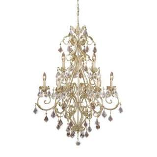 Crystal Chandelier Lighting Fixture, Antique White and Gold, Crystal