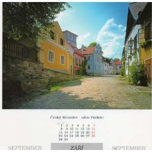 Czech (Cesky Krumlov) Calendar POST CARD: Ulice Parkan, September ZARI