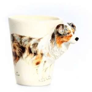 Australian Shepherd Dog 3D Ceramic Mug   Gray & Brown
