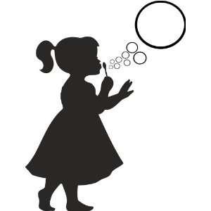 Cute little girl blowing bubbles wall art wall sayings