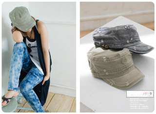 Korean Fashion Style Ragged design Cadet Military Hat Cap Green