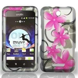 ZTE X500 Score Plastic Rubberized Pink Star Flower Case Cover