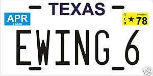 Pam Ewing 6 Dallas TV show 1978 Texas License plate