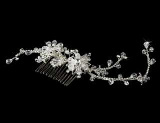 Silver & Crystal Bridal Jewelry & Side Comb Set