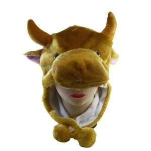 Plush Bull Animal Hat   Bull Hat with Ear Flaps and Poms