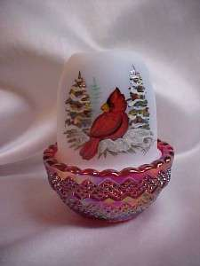 Mosser Glass Hand Painted Cardinal Ruby Carnival Base Fairy Light Lamp