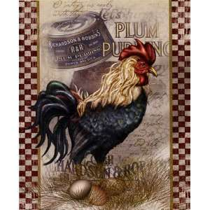 True Blue Rooster Finest LAMINATED Print Alma Lee 9x11