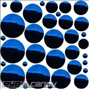 34 Chrome Blue Polka Dots Wall Stickers Decals Words