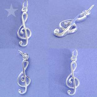 MUSIC NOTE TREBLE CLEF Sterling Silver Charm Pendant