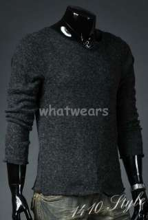 Mens Slim Fit High Quality T shirt Sweater L Grey Z86