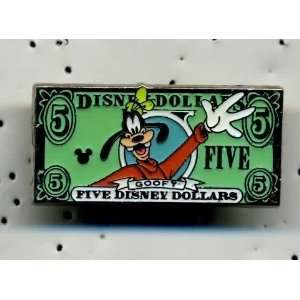 DISNEY CAST HIDDEN MICKEY GOOFY $5.00 DISNEY DOLLAR BILL