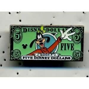 DISNEY CAST HIDDEN MICKEY GOOFY $5.00 DISNEY DOLLAR BILL