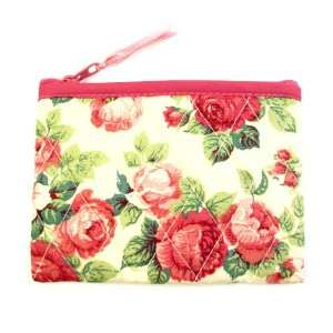 Small Cotton Cosmetic Bag/Coin Bag/Miscellaneous Bag, Large Pink Roses