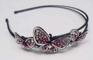 Clear SWAROVSKI CRYSTAL BUTTERFLY HEAD HAIR BAND 4