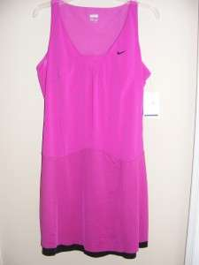 New $100 NIKE hot pink black tank tennis dress S 2 4 6