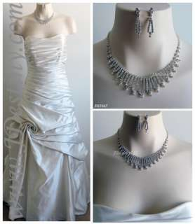 Wedding Bridal Crystal Necklace Earrings Set Prom B5655