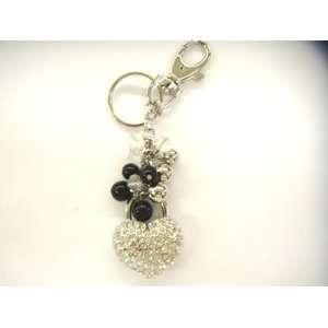 Fashion Black Beaded with Silver Rhinestone Heart Lock design Keychain