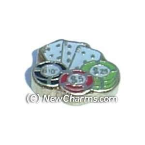 Poker Chips And Cards Floating Locket Charm Jewelry