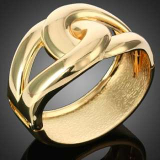 Intersecting Pear Shape Bangle Cuff 18k Gold Plated Jewelry