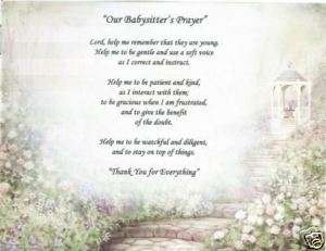 BABYSITTER Prayer Poem DayCare Child Personalized Name