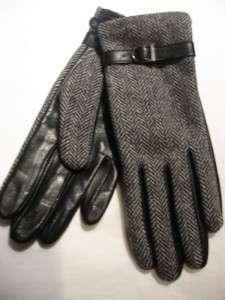 New Nine West Black & Tweed Leather Gloves,M