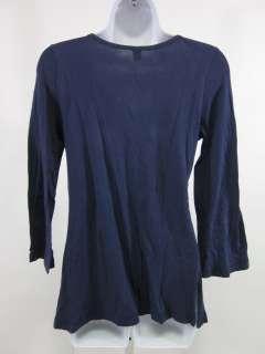 LANGUAGE Blue V Neck Long Sleeve Blouse Top Sz M