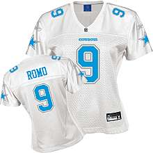 NEW Reebok TONY ROMO Dallas Cowboys Womens Fashion Jersey White Blue