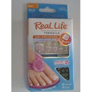 Broadway Real Life Toenails. Pink French Manicure Nails with Nail Art