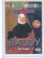 Ty S2 Beanie Card Happy Birthday BALDY Eagle SILVER