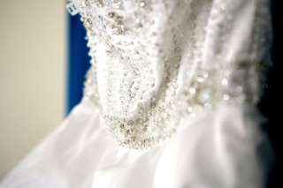 YEARICK WHITE BEADED WEDDING BRIDAL BALL GOWN DRESS 2 / 4 SILVER $4000
