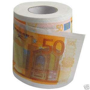 New €50 Euro Bill Banknote Tissue Toilet Paper Roll Loo Gimmick