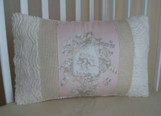 PINK & TAUPE CHERUB ANGEL TOILE BABY CRIB BEDDING SET