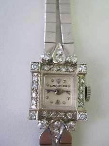 Longines 14k White Gold Wrist Watch w/ 28 Diamonds and 14K Band 1950s
