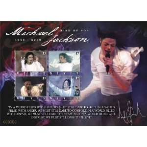Michael Jackson King of Pop Souvenir Sheet Stamps Nevis NEV0918SH