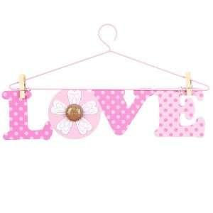Little Boutique Hanger Wall Art   Pink Love Baby