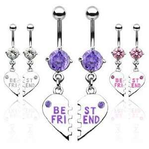 Pair of Best Friend Heart Charm Pendent Pink Cubic Zirconia Belly