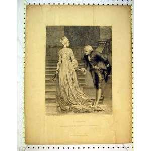 Antique Print Man Women Romance Bientot Stairs Flameng