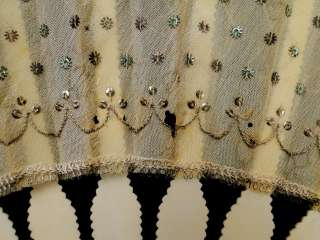 HUGE Cow Bone Ladies Hand Fan Sheer Material w/Green & Silver Sequin