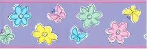 NEW Bedtime Butterfly Flower Pink Purple Wallpaper Wall Border 5yd