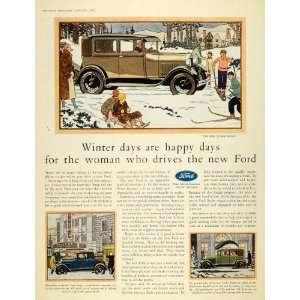 1929 Ad Ford Tudor Sedan Motor Car Coupe Fordor Gears