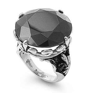 25MM Stainless Steel Black CZ Women Ring (Size 5 to 9) Jewelry