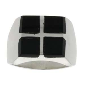 Sterling Silver Square Cuts Black Obsidian Ring size 11 Jewelry