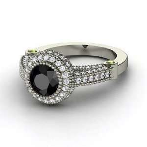 Ring, Round Black Diamond 14K White Gold Ring with Green Tourmaline