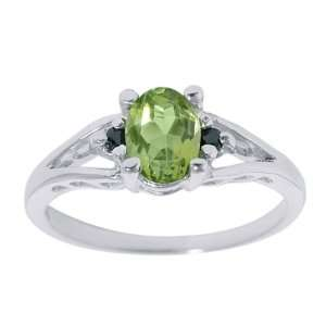0.80 Ct Oval Green Peridot & Black Diamonds Silver Ring Jewelry