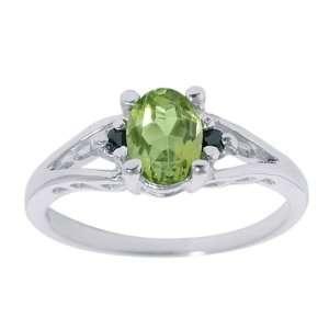 0.80 Ct Oval Green Peridot & Black Diamonds Silver Ring Jewelry