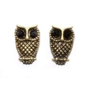 Itty Bitty Owl Post Earrings, Black Eyes Jewelry