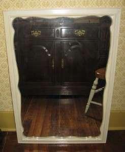 Ethan Allen Alabaster White Scalloped Rectangular Framed Mirror 5010