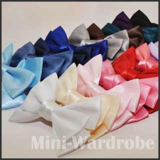 Bow Big Hair Clip Ribbon Satin Tie Gossip Headband band
